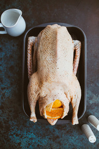 Top view of cooking a roasted whole goose recipe with oranges and lemons in the oven