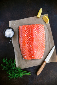 Top view of fresh raw salmon fillet with dill  sea salt and lemon on a table for cooking  Recipe for ketogenic or paleo diet