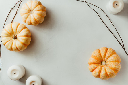 Autumn flat lay with small pumpkins on a white background  The concept of October   mockup  top view