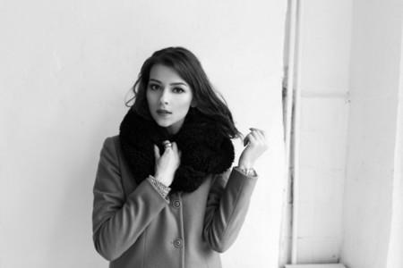 female model in a coat