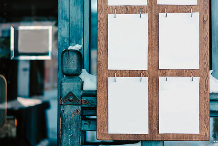 White sheets on a wooden board