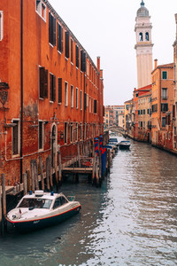The street with a boat in Venice  Italy