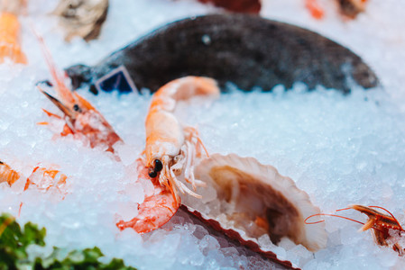 Freshly cooked prawns