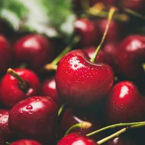 Fresh sweet cherry texture  wallpaper and background  close up  square crop