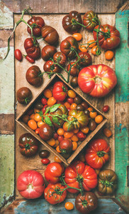 Flat  lay of fresh colorful tomatoes on tray  vertical composition