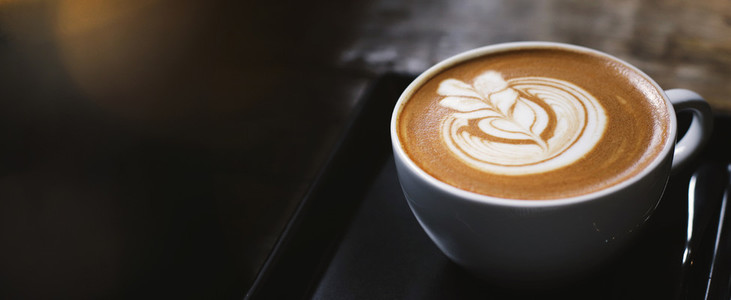 Hot latte coffee  banner style