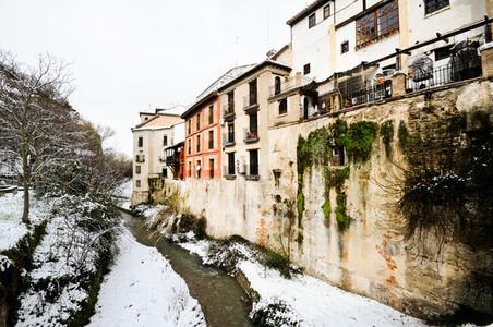 Snow storm with slush on sidewalks  Granada