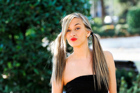 Beautiful and fashion girl with pigtails