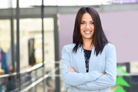 Businesswoman in modern office building