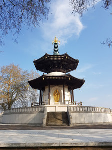 Peace Pagoda temple in Battersea Park by the river Thames  London  UK