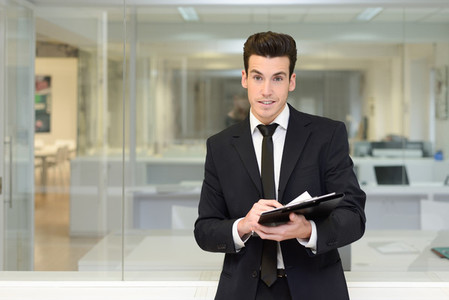 Handsome young businessman in an office