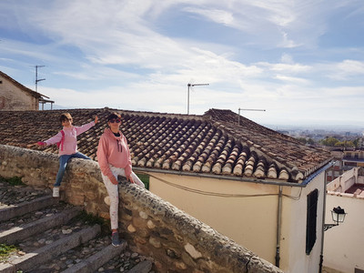 Mother and daughter enjoying the views of Granada from the Reale