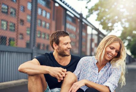 Man teasing his girlfriend