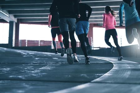 Sportsmen running together