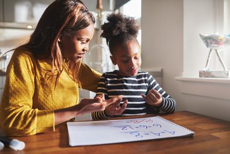 Black mom and child doing homework