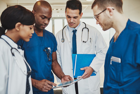 Team of multiracial doctors at hospital