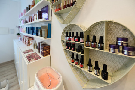 Cosmetic section with nail polish facial cream conditioners s