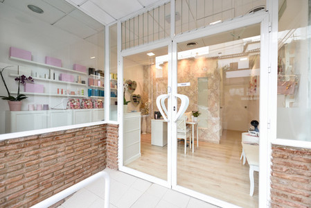 Beauty center  wellness and spa salon entrance