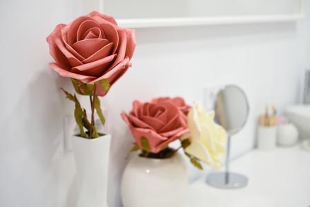 Decoration details in modern wellness center with flower vase an