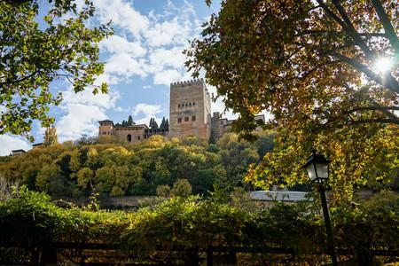Views of the Alhambra in Granada from the Albaic n neighborhood