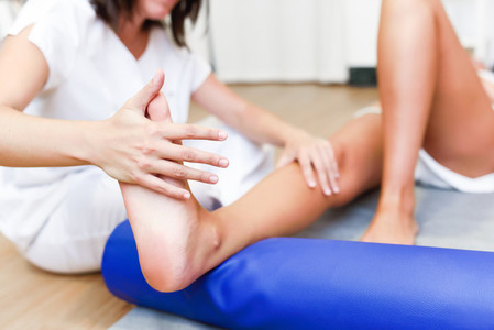 Medical check at the legs in a physiotherapy center