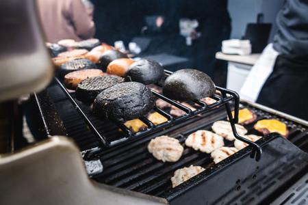 Toasting squid ink black burger