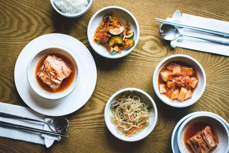 Korean food in a restaurant