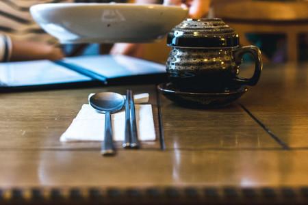 Korean tea pot on a wooden table