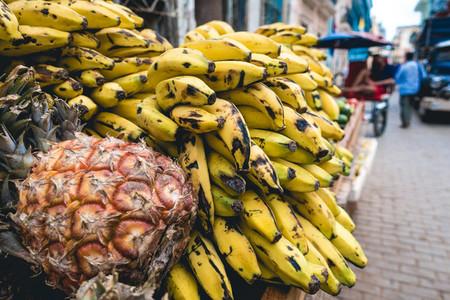 Tropical bananas and pineapples