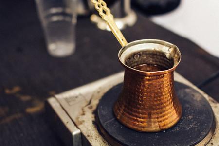 Turkish coffee made in ibrik