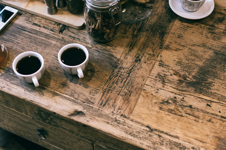 Two cups of brewed coffee