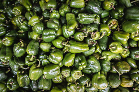 Variety of green bell peppers