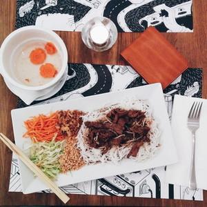 Vietnamese Bun bo nam bo noodles