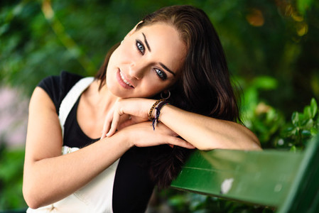 Woman with blue eyes and sweet look