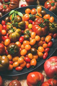 Fresh colorful ripe tomatoes  selective focus  Fresh colorful ripe Fall