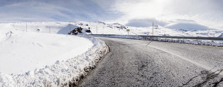 Road in ski resort of Sierra Nevada in winter  full of snow
