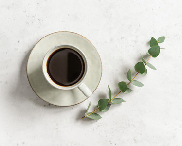 Cup of black coffee on a white textured table with a branch of eucalyptus Top view minimalist style