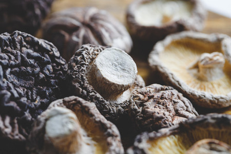 Macro photography of Chinese dried mushrooms Shiitake on a wooden kitchen board