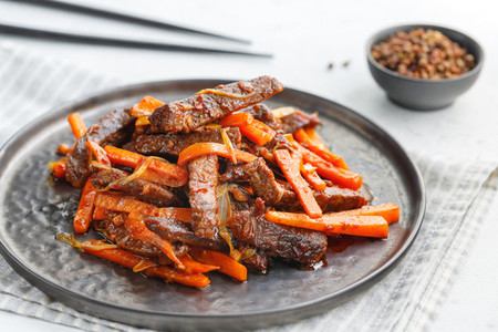 Chinese spicy Szechuan beef meal