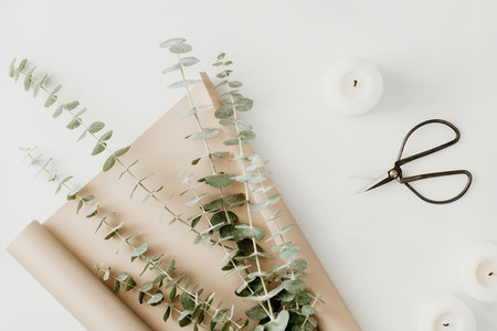 Creating of a bouquet with baby blue eucalyptus branch in a golden wrapping paper among white candles on a table  The concept of a florist work or celebration  Top view  flat lay