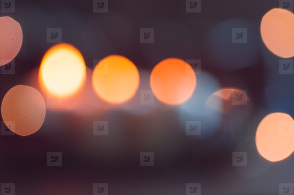 Blurred lights at night  Abstract circular bokeh background