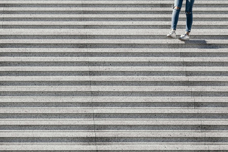 View on stairs in a modern district with a girl  Abstract minimal background