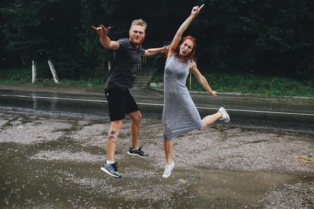 beautiful couple in the rain