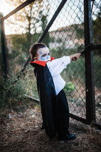 Kid costumed of dracula to halloween on the forest near grille