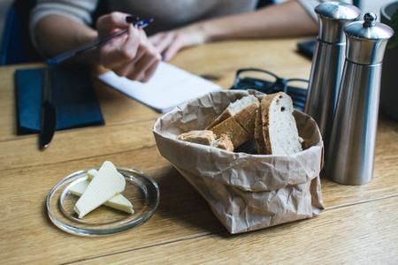Bread with butter in restaurant