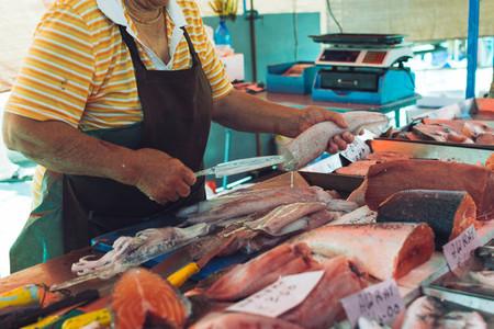 Squid cutting at fish