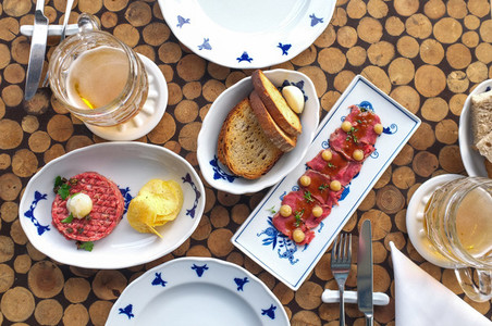 Steak tartare and sashimi aerial