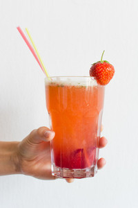 Strawberry lemonade in glass