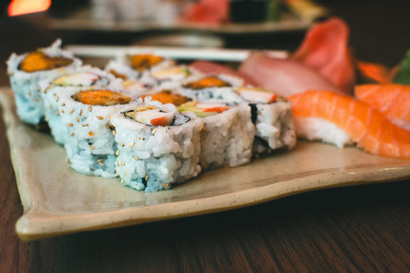 Sushi maki rolls with yam