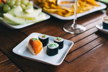 Sushi on a summer garden party